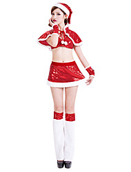 Costume di Natale della ragazza dolce Red Paillette Donne