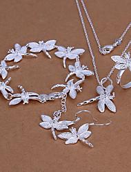 Sweet Silver Plated (Necklace & Ring & Earrings & Bracelet) Jewelry Set (Silver)