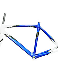 700C Full Carbon Blue+White Road Bicycle Frame with Front Fork