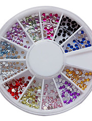 12 couleurs nail art acrylique 2mm Strass décoration Nail Art