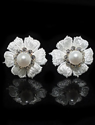Two Pieces Alloy Flower Shape Wedding Bridal Hairpins With Rhinestones And Imitation Pearls