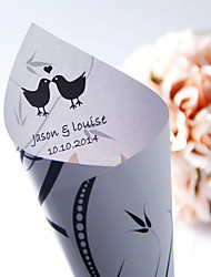 Personalized Black Pelletiera Pattern Paper Petal Cones - Set of 12