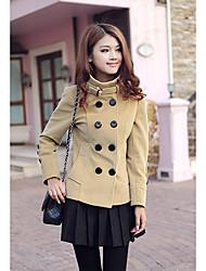 Женская Тренч двойной грудью пальто с длинным рукавом шерстяные Зимние куртки пальто