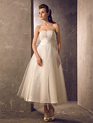 A-line Wedding Dress - Classic & Timeless Reception Little White Dress Tea-length Strapless Taffeta Tulle with Criss-Cross Draped Ruche