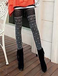 ZH Lässige Schneeflocke-Muster-Streifen verdicken Leggings