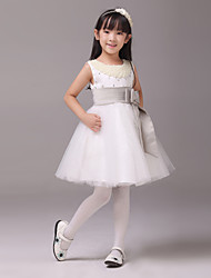 Formal Evening / Wedding Party Dress - Ivory A-line Jewel Knee-length Satin / Tulle