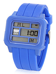 Unisex Multi-Functional Rectangle LCD Digital Rubber Band Wrist Watch (Assorted Colors)