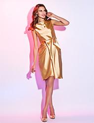 Cocktail Party / Holiday Dress - Gold Plus Sizes / Petite Sheath/Column Bateau Knee-length Stretch Satin