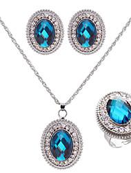 Conjunto de joyas De mujeres Boda / Pedida / Cumpleaños Sets de Joya Aleación Zafiro / Diamantes Sintéticos Collares / Pendientes Plata