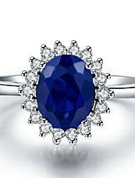 Ring Women's Sapphire Silver / Sterling Silver / Platinum Plated Silver / Sterling Silver / Platinum Plated Love5 / 6 / 7 / 8 / 8½ / 9 /