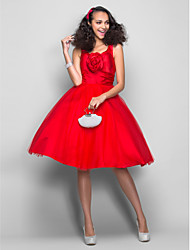 TS Couture Prom Dress - Elegant Ball Gown V-neck Knee-length Satin Tulle with Flower(s) Ruching