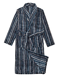 Bath Robe, Velour Blue Stripe Print Garment - 2 Size Available