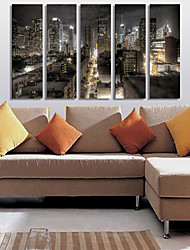 Stretched Canvas Print Art Landscape City in Night Set of 5