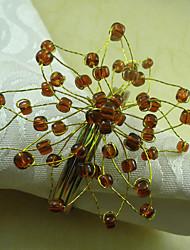 Tree Design Acrylic Beads Napkin Ring, Dia4.2-4.5cm Set of 12