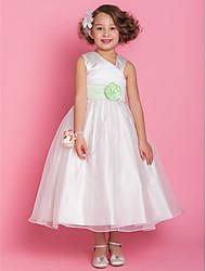 A-line/Princess Tea-length Flower Girl Dress - Organza/Satin Sleeveless