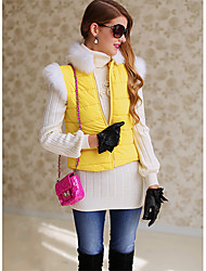 Women's Sparkle Furry Collar Vest Coat