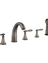 faucet banheira clássico antigo de bronze com chuveiro de mão
