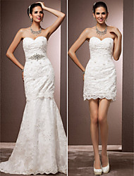 Lanting Bride Trumpet/Mermaid Petite / Plus Sizes Wedding Dress-Court Train Sweetheart Lace
