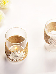 "3""H Modern Style Transparent Votive Glass Candle Holder Set"