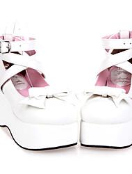 Ручная Белый Кожа PU 7см Клин Сладкий Лолита обувь