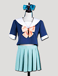 Inspirado por Kantai Collection Yūbari Vídeo Jogo Cosplay Costumes Ternos de Cosplay / Uniformes Escolares Patchwork Branco / AzulManga