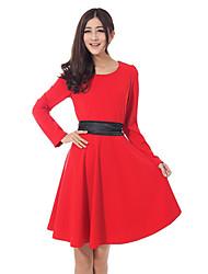 WEIER vestido de manga larga de color sólido (rojo)