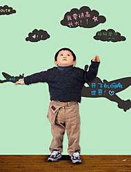 Blackboard Wall Sticker, Removable, Air Plane and Cloud