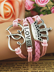 Women's LOVE Crown Double Hear Shape Bracelet