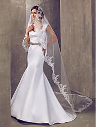 Un palier chapelle voile de la mariée avec dentelle Applique bord