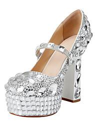 Wedding Heel Chunky couro de patente das Mulheres Bombas sapatos de salto com strass