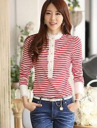 Moda feminina Lace Stripe Blusa