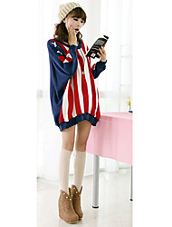 Korean Women's Round Neck Usa Flag PATTERN Batwing Sleeve Coat Sweater