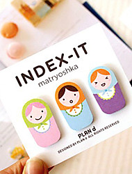 3pcs Russian Doll Style Memo Sticky Notes (Random Color)