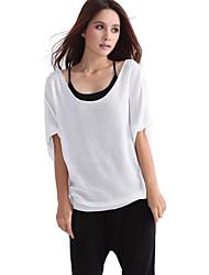 Blanca de manga corta suéter del suéter de la Mujer MIUSOL