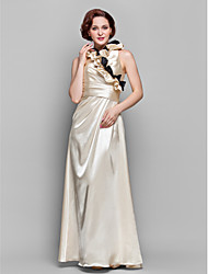 A-line Plus Sizes / Petite Mother of the Bride Dress - Champagne Floor-length 3/4 Length Sleeve Stretch Satin