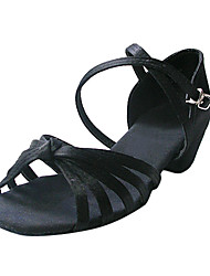 Non Customizable Women's/Kids' Dance Shoes Latin/Ballroom Satin Flat Heel Black/Brown