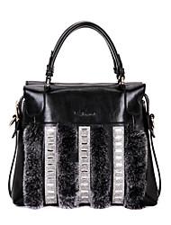 Emoji Fashion Diamonade Pelliccia Décor Genuine Leather Tote Bag / Spalla (Schermo a colori)