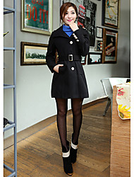 Women's Coat,Solid Long Sleeve Winter Others Thick
