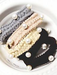 Douce multicolores Cravates Tissu cheveux pour les femmes (noir, café, gris) (1 PC)