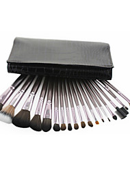 Pro Luxury 18 PCs Coffee Color Synthetic Hair Makeup Brush Set with Black Crocodile Skin Pouch