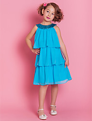 Lanting Bride ® A-line Knee-length Flower Girl Dress - Chiffon Sleeveless Jewel with Tiers / Sequins