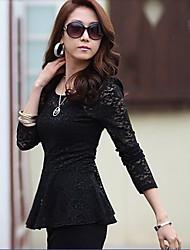 YGR Frauen Black Lace Langarmshirts