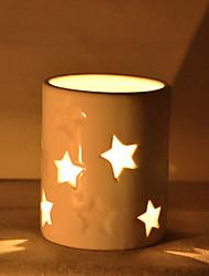 "4 ""Modern Style H escavar estrela Cerâmica Titular vela votiva"