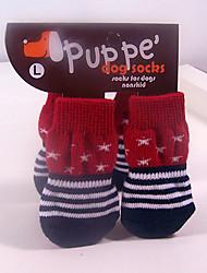 Носки и ботинки для Собаки / Коты Красный Зима S / M / L Хлопок