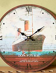 """13 """"estilo h país relógio de parede navio a vapor de impressão de metal"""