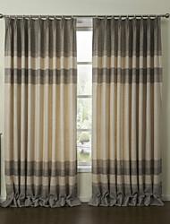 (Two Panels) Retro European Clasiic Stripe Eco-friendly Curtain