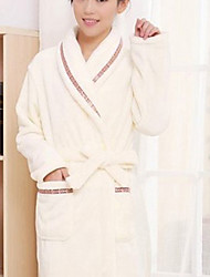Bath Robe,High-class Woman Beige Solid Color Garment Bathrobe Thicken
