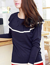 Folli Korean Casual RuffleSplicing Knit Shirt