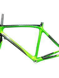 700C Full Carbon Green+Black Road Bicycle Frame with Front Fork