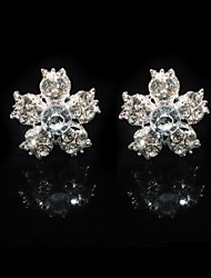 Fine Two Pieces Alloy Flower Shape Wedding Bridal Hairpins With Rhinestones